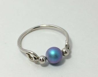 Iridescent Light Blue Swarovski Ring ~ Wire Wrapped Ring ~ Wire Wrap Ring ~ Sterling Silver Pearl Ring ~ Ice Blue Pearl Ring