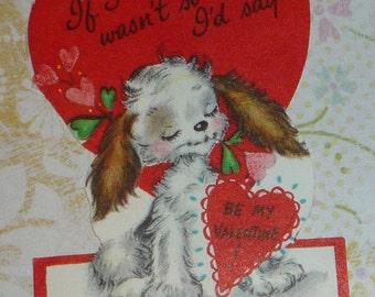 Bashful Puppy Dog Hallmark Valentine Card
