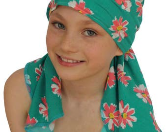 Ava Joy Children's Pre-Tied Head Scarf, Girl's Cancer Headwear, Chemo Head Cover, Alopecia Hat, Head Wrap Cancer Gift Hair Loss Teal Daisies