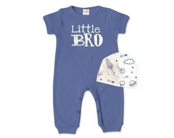 SUMMER SPECIAL! Baby Boy Outfit, Newborn Boy Romper, Blue Baby Boy Coming Home Outfit, Little Brother, TesaBabe RC860IO000344