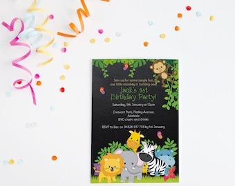Jungle Birthday ~ Jungle Invitation ~ Birthday Invitation ~ Jungle Party ~ Safari Invitation, Safari Birthday ~ Safari Party ~ Monkey ~ One
