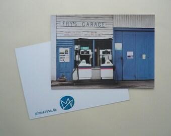Fry's garage, eight postcards, postcards, set, minnievoss, analog photography, offset printing, postcard, postcard