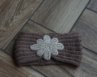 Knit Ear Warmer with Rhinestone appliqué, Ear Warmer with embellishment, Ear Warmer with Bling,  Ear Wrap, Headband with Rhinestone appliqué