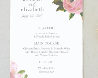 Menu. Wedding Menu. Wedding. Paper Menu. Wedding Menu Card. Dinner Menu. Custom Menu. Pink Watercolor Menu. Wedding Reception. Wedding Menus