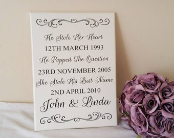 Personalised Wedding Sign, He Stole Her Heart, He Popped The Question, She Stole His Last Name, Shabby Chic Wall Plaque Code 252