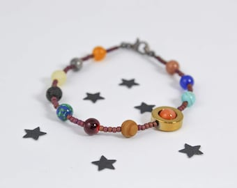 Planet Bracelet, Solar System Bracelet, Outer Space Bracelet, Galaxy Bracelet, Science Gift, Seed Bead Bracelet, Cosmic Bracelet, Saturn