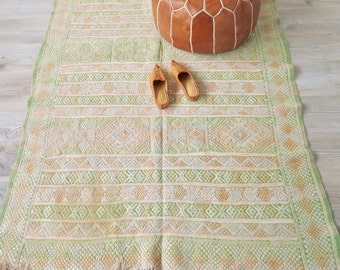 FREE U.S. SHIPPING!  Moroccan Wool and Sabra Silk Rug or Wall Hanging Green Muted Tones 4' x 6'