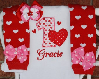 Baby Girl Valentine Birthday Outfit! Hearts birthday outfit with applique top, red heart leg warmers, and matching hair bow!