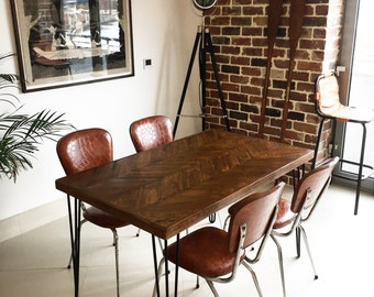 Handcrafted Reclaimed Wood Dining Table With Hairpin Legs - Reclaimed wood dining table