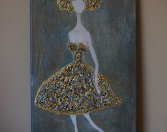"Original Painting Fashion Sketch Illustration Surreal Art Mixed Media Acrylics on Canvas by DCBARTSTUDIO 12"" X 24"""