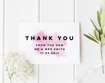 Personalised Wedding Card, Thank You From Mr and Mrs, Thank You Card, From The New Mr & Mrs, Wedding Guest Card, Custom Wedding Date Card