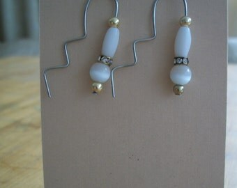 White Zig Zag earrings, silver, gold, wire, handmade, upcycled