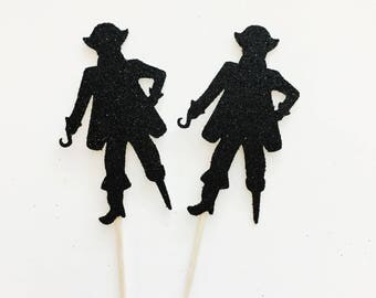 Glitter Pirate Cupcake Toppers, Pirate Cupcake Toppers, 12 Ct.