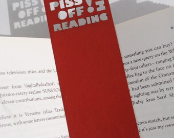 Bookmark, Unique bookmark, Rude bookmark, Piss off I'm reading, Book lover gift, Stocking fillers, Book accessories, Red, Free P&P!