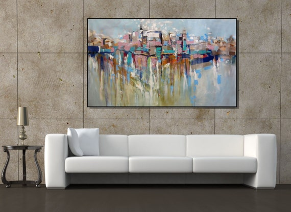 Wall art extra large painting cityscape abstract painting for Large wall art for living room