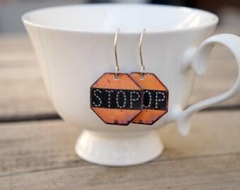 Stop earrings, Dangle earrings, New driver gift, Street sign, Drop earrings, Silver earrings, Transportation, Rustic earrings, Stop jewelry