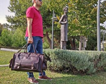 Leather Weekender Bag - Duffel Bag - Leather Luggage Bag - Leather Travel Bag - 100% Full Grain Leather in 4 Colors! Handmade in Greece