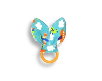 Natural Wooden Teething Ring <<Airplanes>> ~ Baby/Teething Toy/Bunny Ears//Green//White//Red//Blue//Aqua//Clouds
