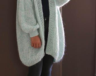 Oversized Chunky Knit Sweater, Loose Knit, Slouchy Sweater, Turquoise Pastel, Oversized Knit Cardigan/ Loose Knit Cardigan/ Bernadette-vest