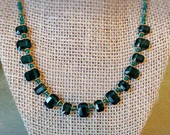 Crystal Emerald Necklace, Swarovski Crystal Necklace, Bridal Necklace, May birthstone gift, May birthday gift, Crystal Statement Necklace