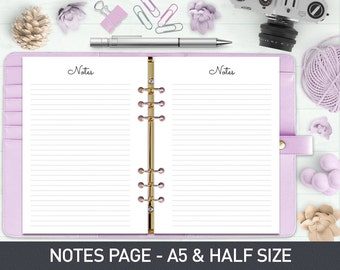 A5 Notes Page - Planner Page Refills Printable, Printable Notepaper, Filofax Printable, Planner Inserts, Printable Notes, Notes Printable