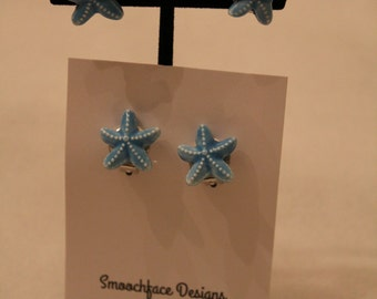 Girls Clip On Earrings - Blue Starfish