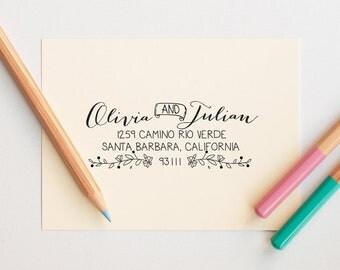 Return Address Stamp Self Ink, Custom Address Stamp, Rustic Wedding Address Stamp, Address Stamp Self Inking, Personalized Address Stamp