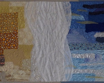 Landscape Art Quilt, Textile Wall hanging, Quilted Picture, Textured Quilt, Abstract Wall Decor, Contemporary Fiber Art, Sea, Beach, Surf