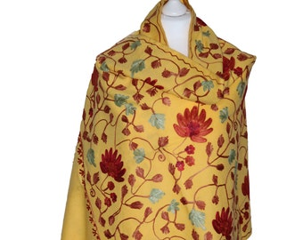 Yellow Shawl Wrap, Floral Embroidered Shawl, Spring Summer Scarf, Women Shawl, Oversized, Gift For Her, Blanket, Shawls and Wraps, Handwoven