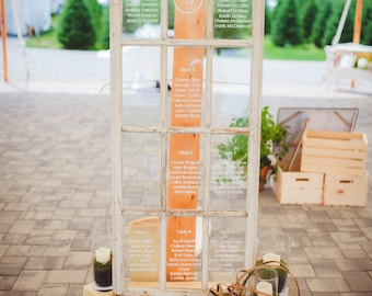 Rustic Seating Chart Window, Customizeble for Weddings and Other Events