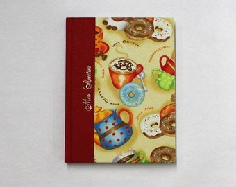 Recipe book, for your favorite recipes, by hand, cookbook with Donuts printed fabric contents striped