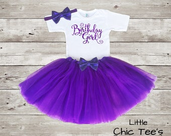 Birthday Girl Outfit Purple, First Birthday Outfit Girl Purple, Purple Birthday Outfit, First Birthday Outfit, Purple Birthday Tutu