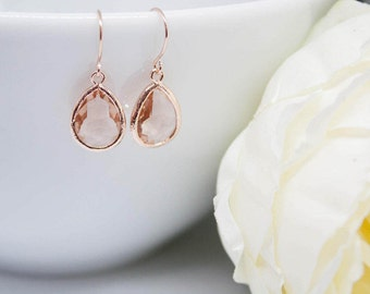 Earrings rose gold drops peach apricot