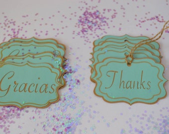 Thanks, gracias, tags, banners cupcakes tags