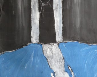 Painting Woman III, original, acrylic and pastel on paper, 50X65 cm, blue, black
