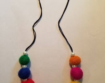 Needle Felt and Pearl Necklace, black cord, comfortable, pretty, ball felt necklace, colorful, lovely, realistic pearls,