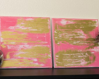 Painted and Embossed 10x10 Canvas - Pink and Gold // Blue and Silver