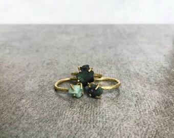 Raw emerald ring, Raw crystal ring, May birthstone ring