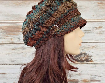 Womens Crochet Hat Womens Hat Newsboy Hat - Spring Monarch Ribbed Hat - Rust Teal Brown Newsboy Hat - Womens Accessories - Chocolate Peacock