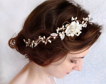 bridal headpiece ivory, bridal headband pearl, ivory flower headband, floral crown, bridal hair piece, cream headband, bridal hair vine