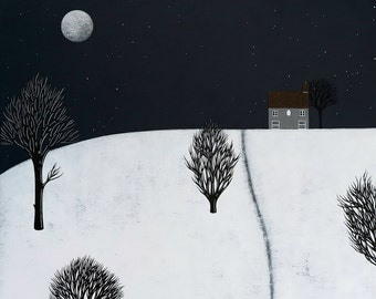 Night-time in Fen Meadow - Winter Landscape Art Print 8x8 - Hygge Night Painting - by Natasha Newton