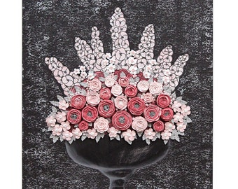Floral Nursery Art - Gray and Pink Painting on Canvas of Sculpted Rose Bouquet Still Life - Small 20x24