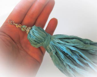 Long Sari Silk Ribbon Tassel Pendant - For DIY Crafts & Jewelry Making. Color - Turquoise Blue