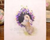 CANVAS PRINT Easter Bunny Rabbit & wreath of violets  Nursery farm  Spring  French Farmhouse  after an oil  painting © Hélène Flont Designs