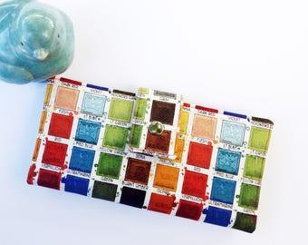 Colorful womens wallet, art teacher gift, art wallet, art teacher gift ideas, paintbox womens wallet, teacher appreciation gift, cute wallet