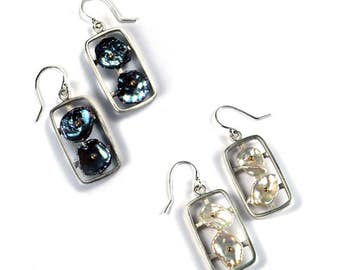Sterling Silver Rectangular Earrings with Keshi Pearls