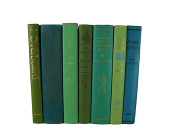 Green Blue  Vintage  Books , Vintage Wedding Decor, Vintage  Photography Prop , decorative books , old books , vintage book bundles