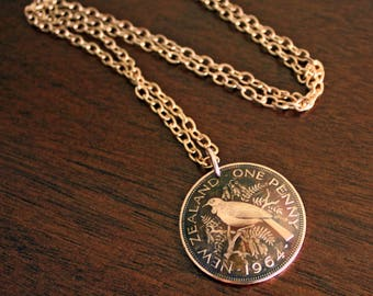 Historic Giant New Zealand Penny Pendant on 22 Inch Chain