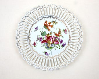 Floral Dessert Plate - Dresden Floral Plate, Romantic Dresden Flower Plate, Vintage Bavarian Plate, Reticulated Plate, c.1910s