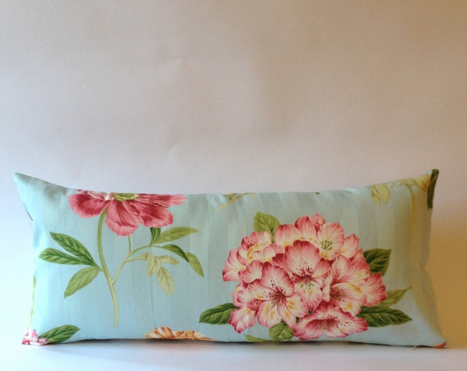 Vintage Decorative Bolster Pillow - Vintage Pindler and Pindler Print  - Gray & White Chevron Backing- Invisible Zipper Closure